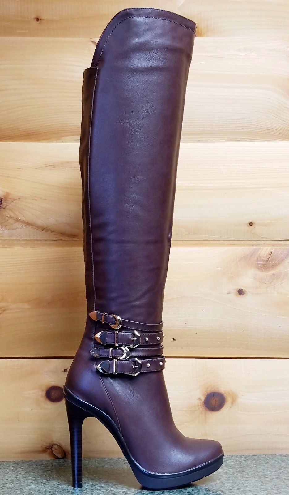 "Luichiny Want To Be Brown Leatherette 4.5"" Knee Boots Winterized Fashion"