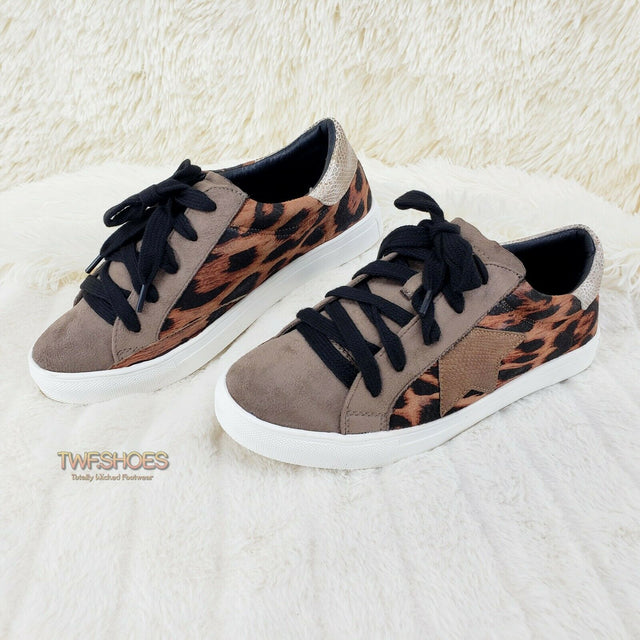 Woman's Leopard Print Fashion Sneakers Coco Rubber Sole 6-10