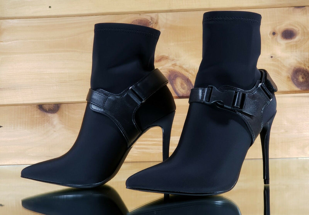 """CR Dara Red Fitted Open Pointy Toe Ankle Sock Boot 4/"""" High Heel 6-11"""