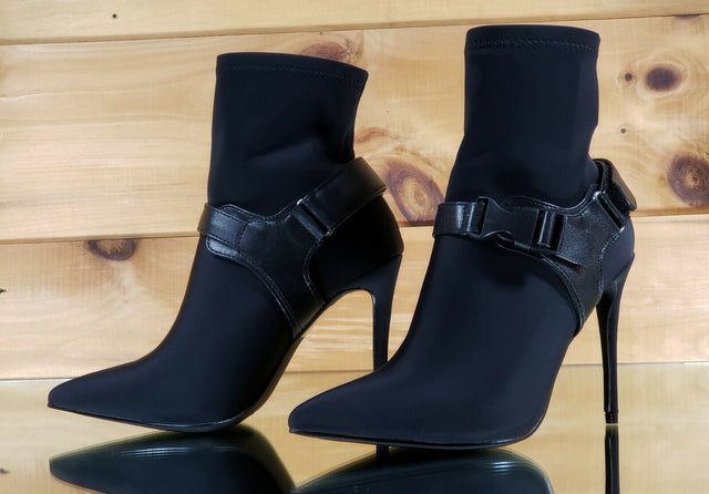 "CR Raider Black Pull On Stretch Pointy Toe Harness Ankle Boot 4"" High Heels"