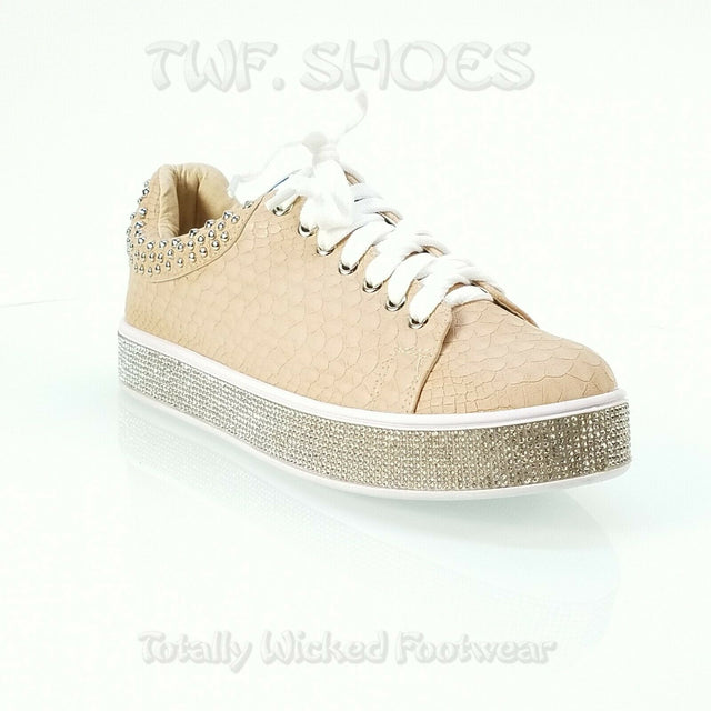 Bling Woman's Jeweled Fashion Sneakers Stud Collar Nude Snake Texture 7-11
