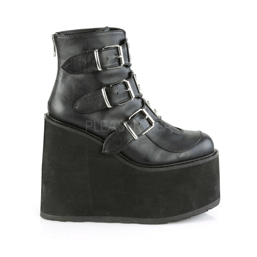 "Swing 105 Black Matte Multiple Buckle Ankle Boot 5.5"" Platform"