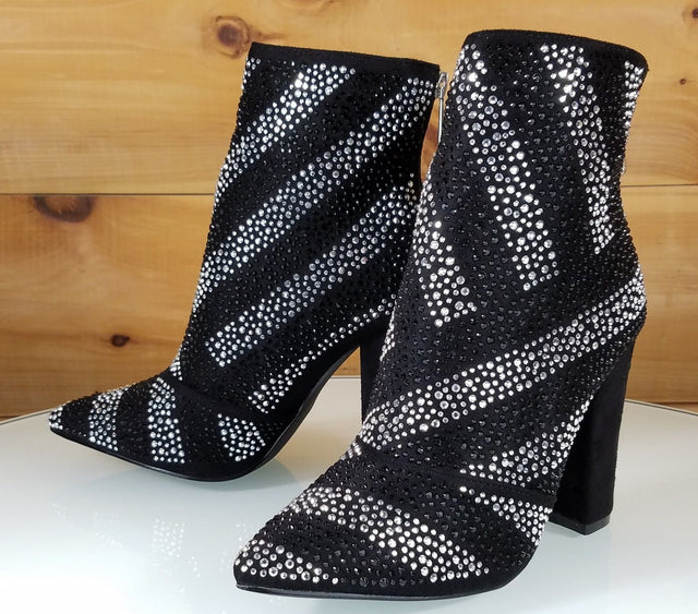 CR Black Iridescent Rhinestone Chunky High Heel Ankle Boot