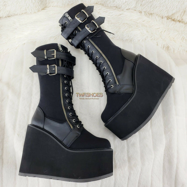"Demonia Swing 221 Black Canvas Goth Rave Knee Boot 5.5"" Platform RESTOCKED NY - Totally Wicked Footwear"