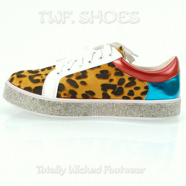 Bling Woman's Rhinestone Fashion Sneakers Leopard 7-11