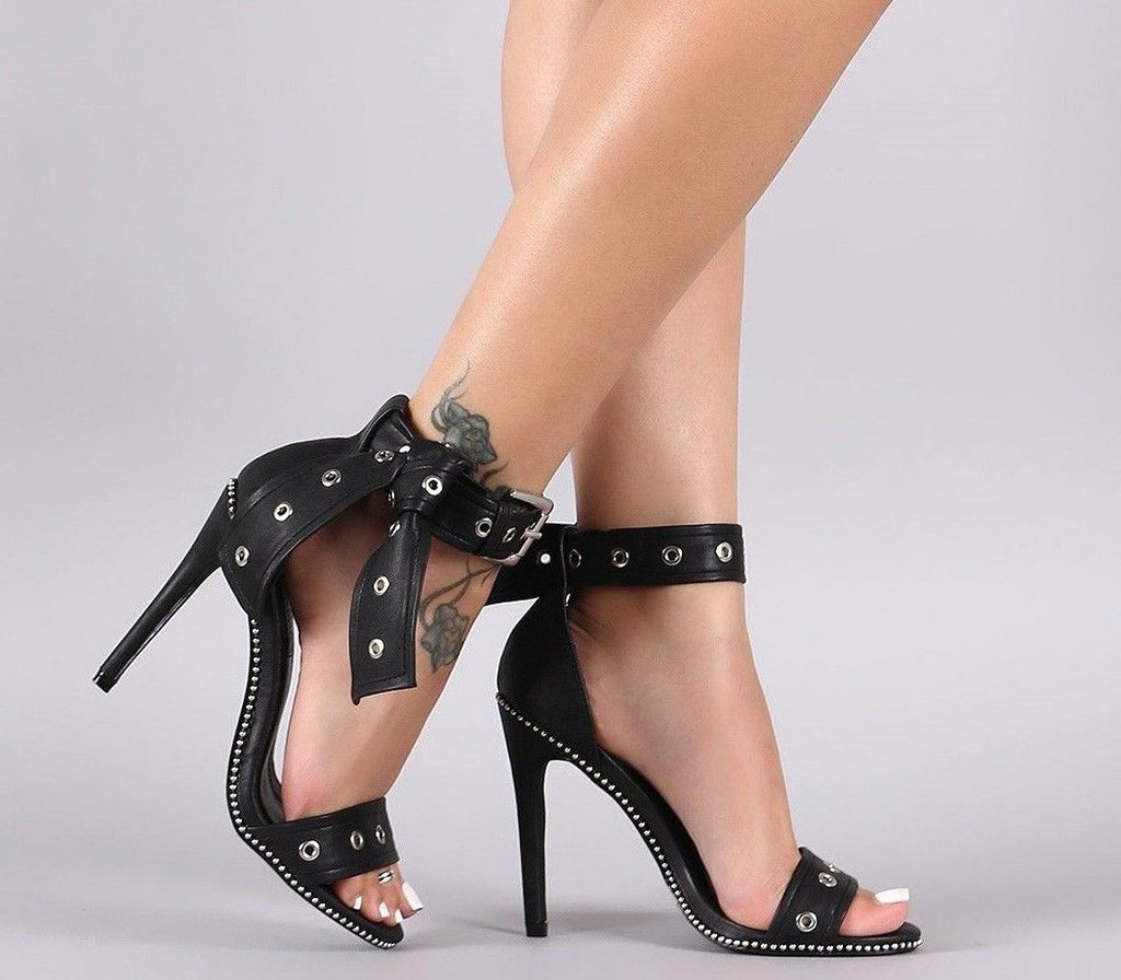 "CR Bullet Stud Trim Black Vegan Leather Sandal 4.25""  High Heel Shoes"