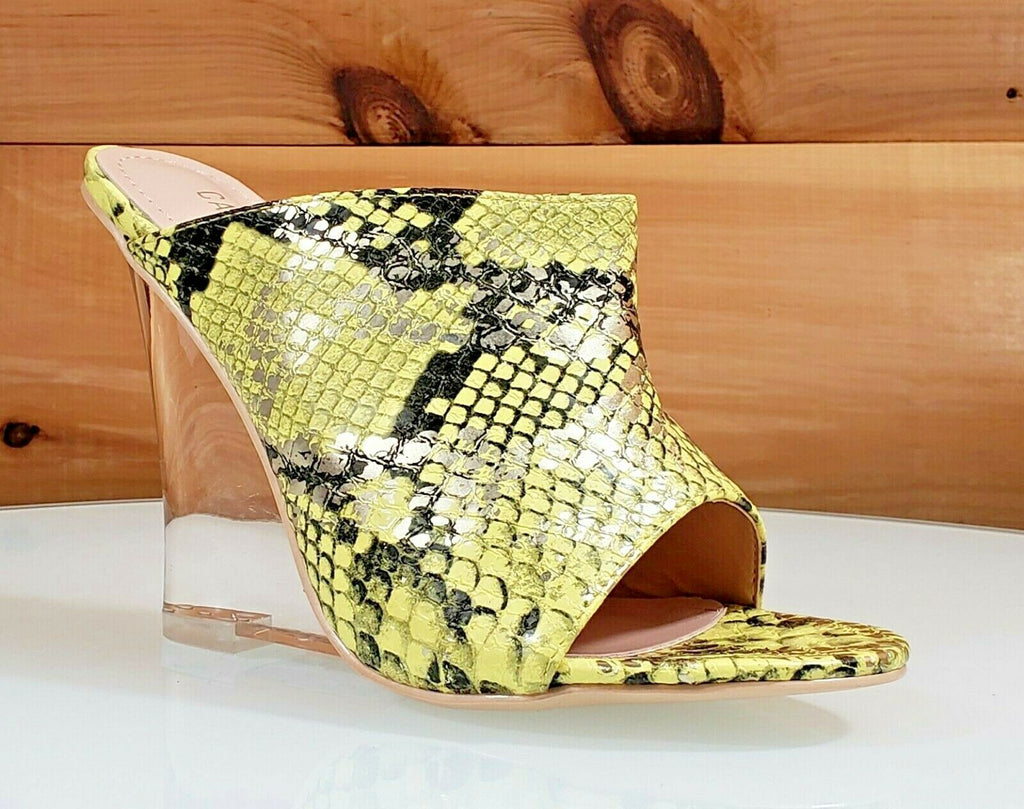 "CR Boa Babe Lime Yellow Snake Slip On Clog 4.5"" High Heel Wedge Shoes 6-11"