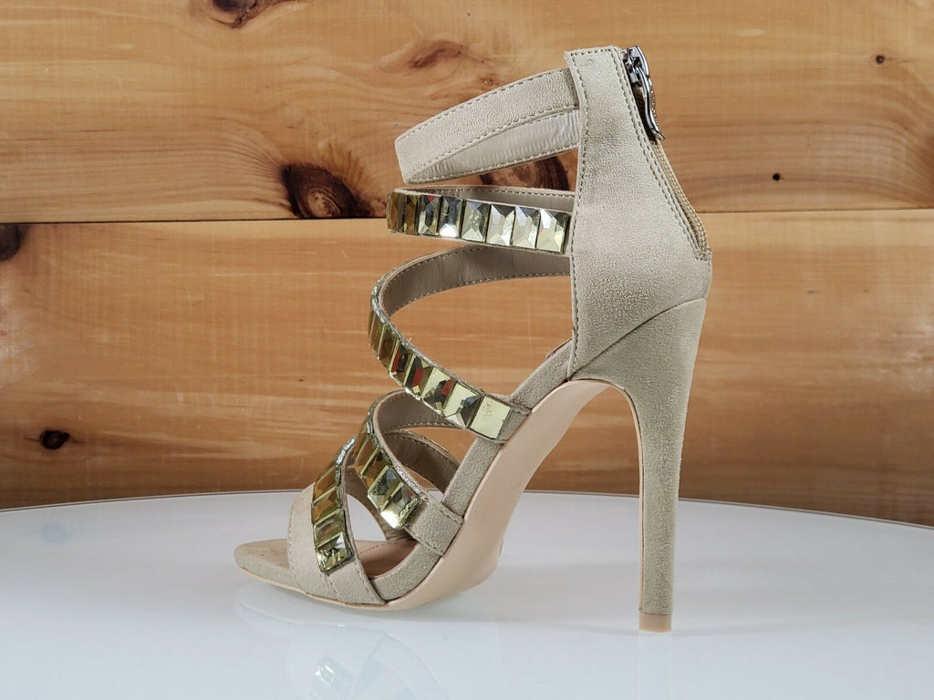 "Mac J Light Olive Green 6 Multi Strap  - 4.5"" High Heel Shoes"