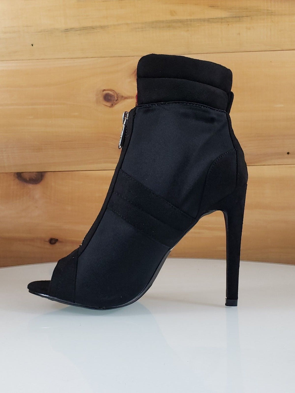 "CR June Black Front Zipper 4"" High Heel Ankle Boot Shoes"