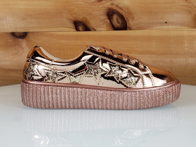 C & C Katie 7 Metallic Rose Gold Embroidered Star Creeper Sneaker