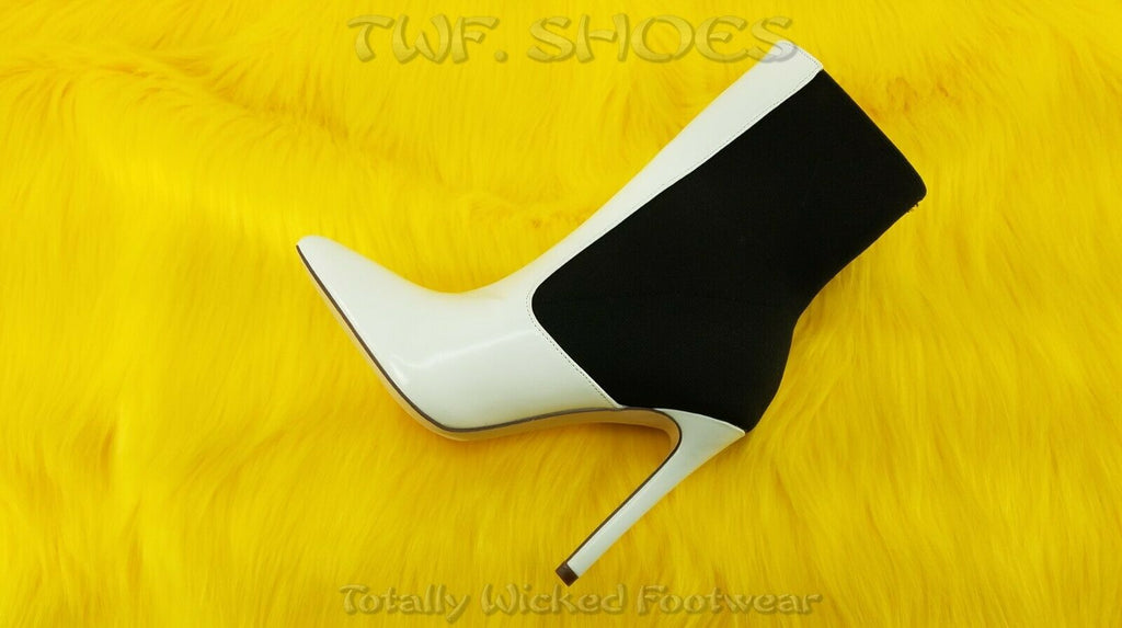 "So Me Leena Black Elastic Pull On 4.5"" High Heel Ankle Boots Shoe 6.5-11 White"