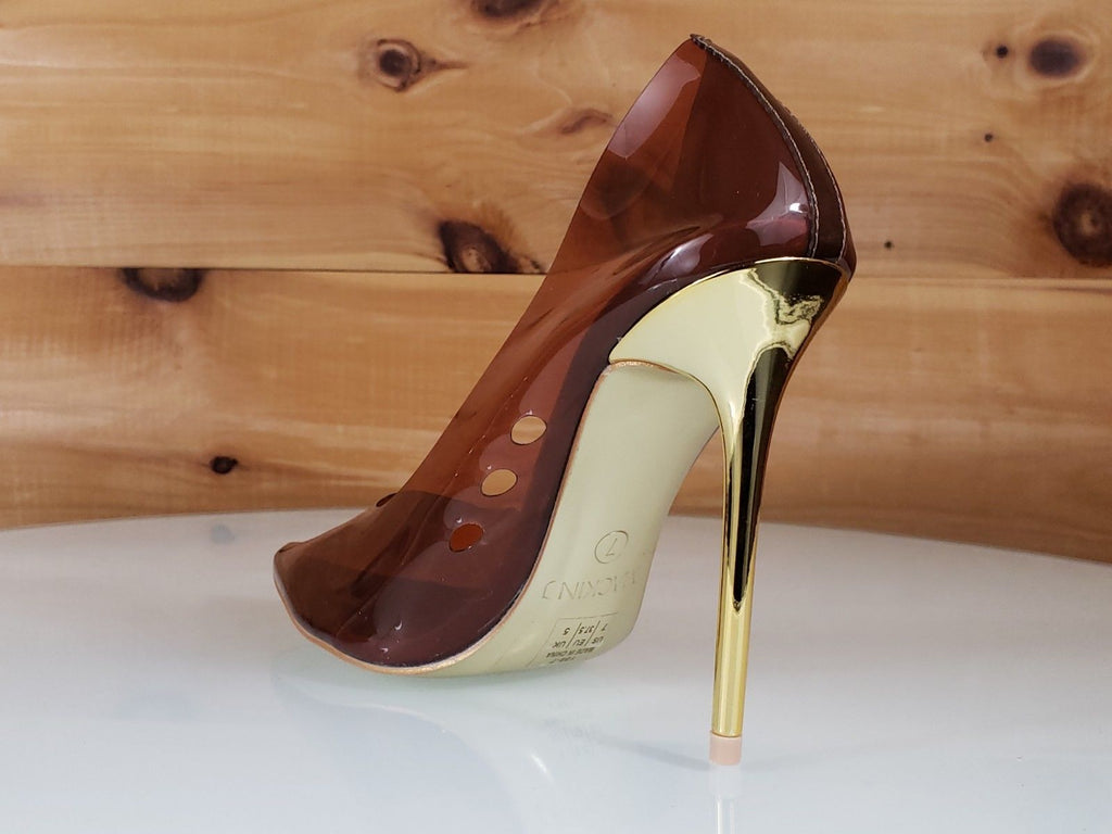 "Mac J Transparent Brown Pointy Toe Pump Gold 4.5"" High Heel / Sole Shoes 7-11"