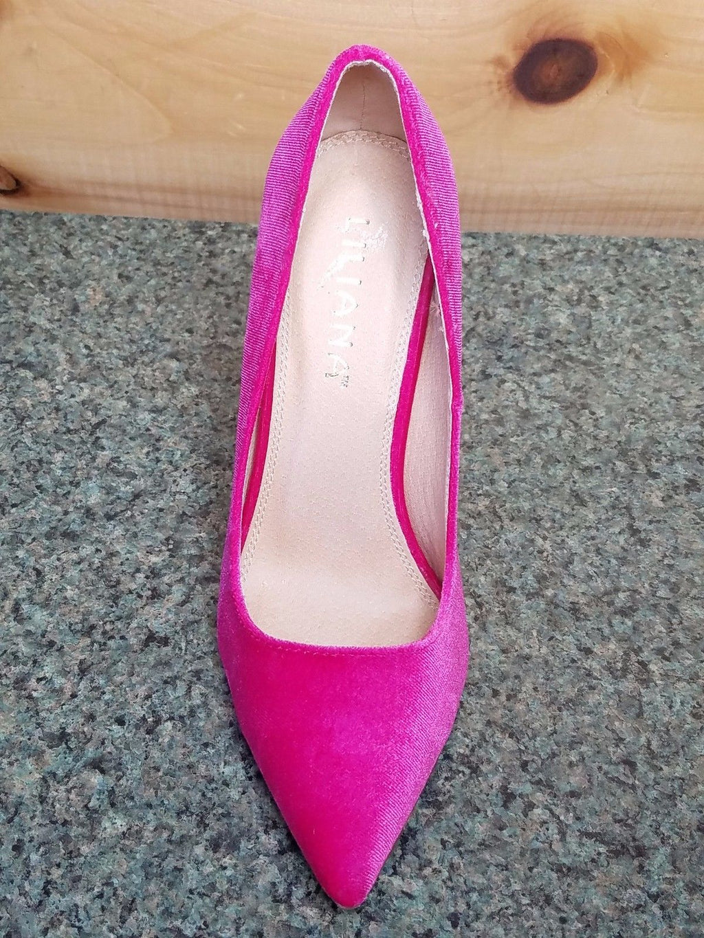 "Liliana Fuchsia Velvet Single Sole Pointy Toe Pump 5"" Heel Shoe 7-11"