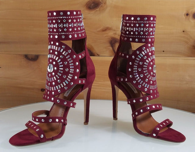 "CR Blair Burgundy Wine Red Rhinestone & Stud Design 4.5""  High Heel Shoes Boots"
