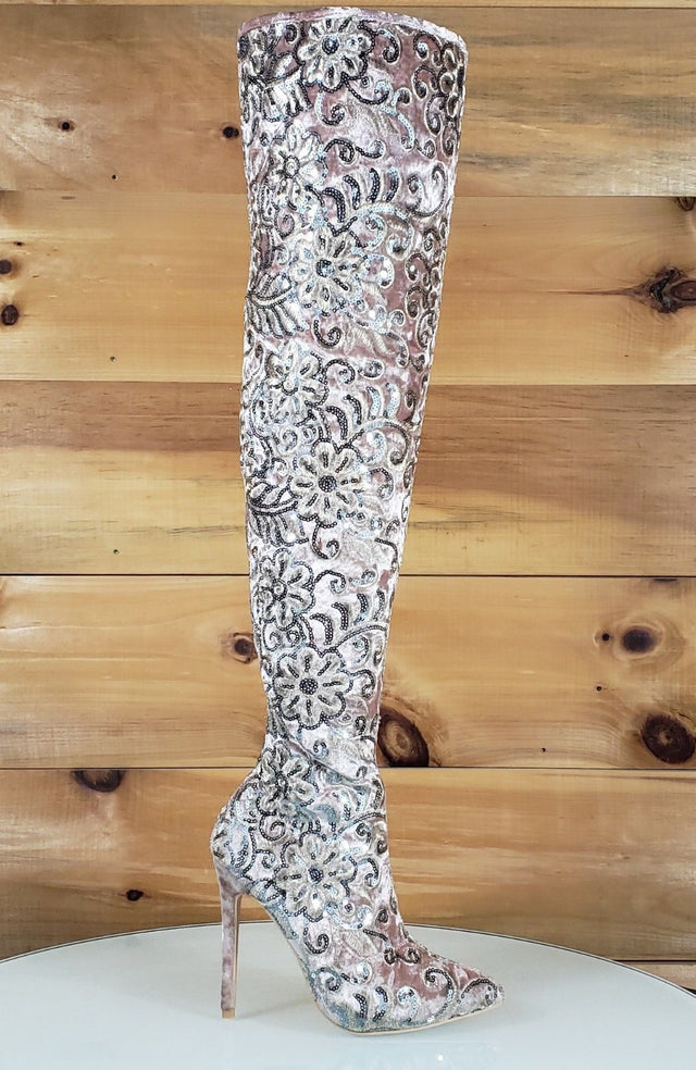 sequin thigh boot