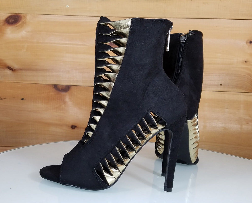 "CR Alza Black Cut Out Gold Twist Design 4.25"" High Heel Ankle Boots Shoe"