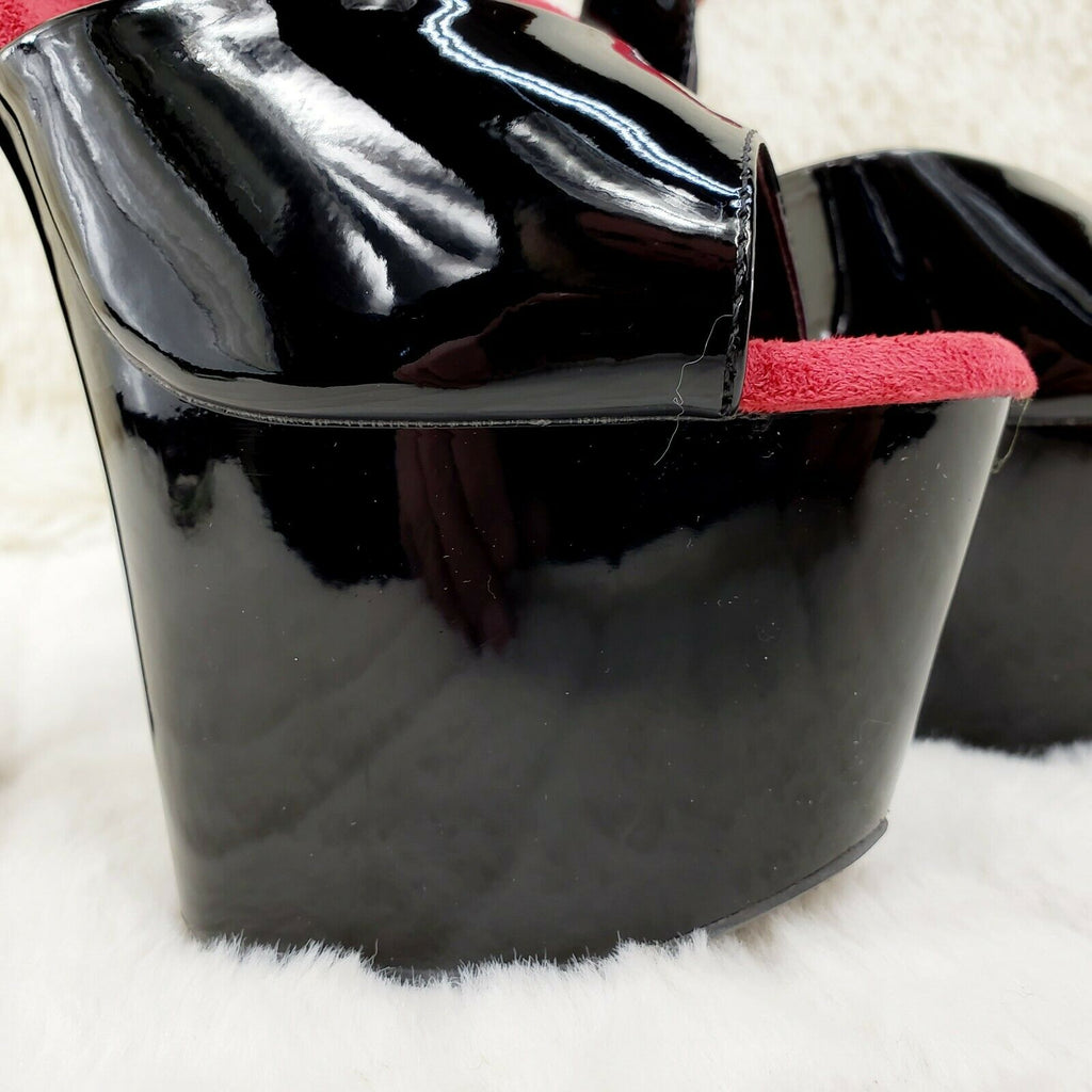 "Adore 714 Black Red Slingback Style Platform Shoes Sandals 7"" High Heels NY - Totally Wicked Footwear"
