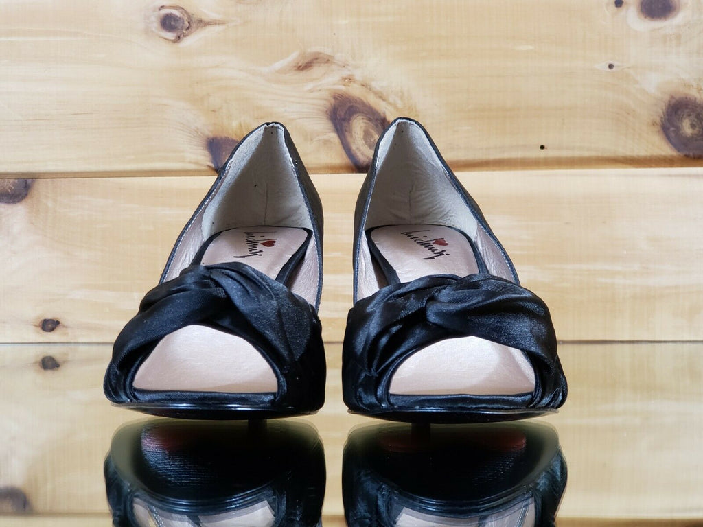 Luichiny Best One Yet Black Satin Open Toe W/ Bow Kitten Heel Pump Shoe 7 - 11