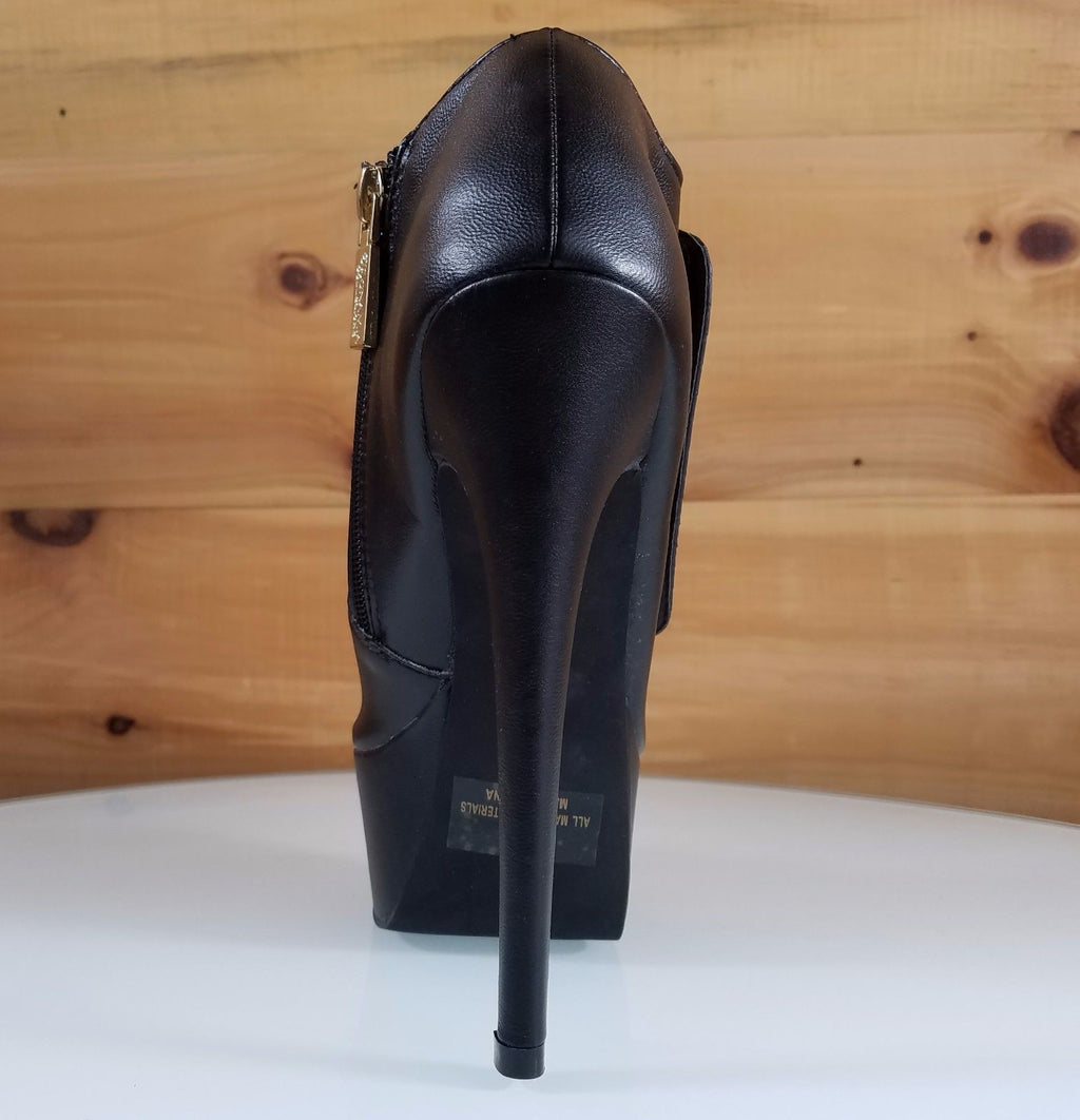 "Mona Mia Snaky Black Ankle Boot 6"" Platform High Heel Shoes"