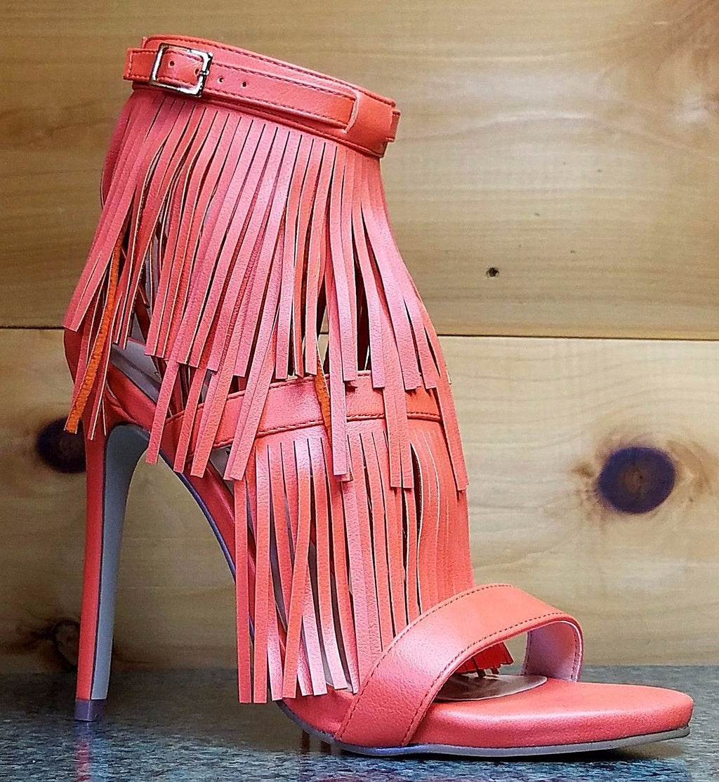 "WR Triple Fringe Strap Jersey Orange 4.5"" Heel Closed Back Sandal Shoe"