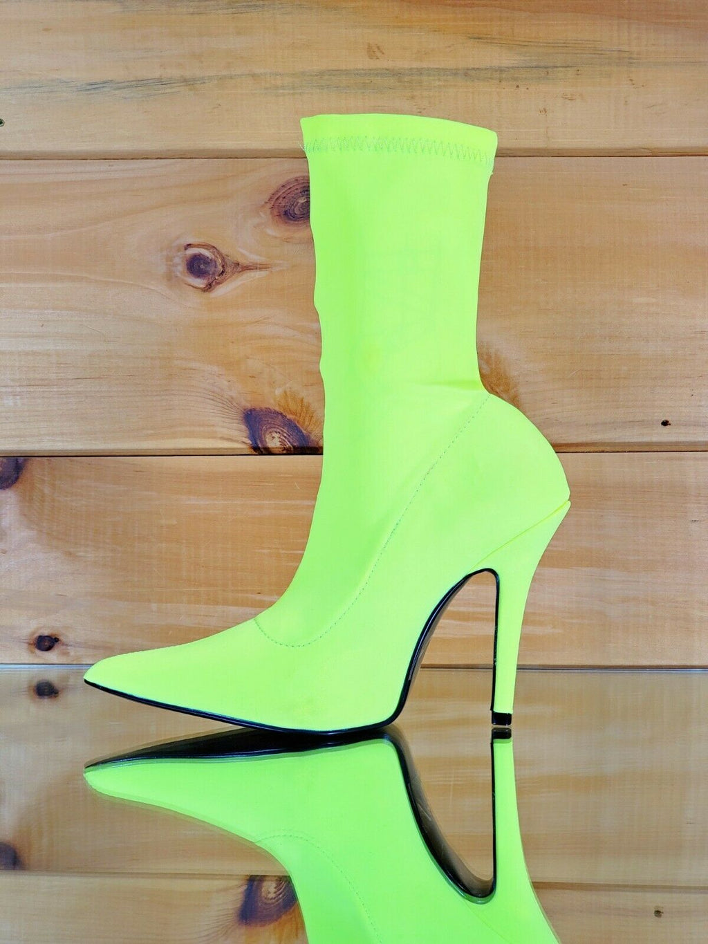 "CR Neon Yellow Pull On Stretch Extreme Pointy Toe Ankle Boot 4"" High Heels"
