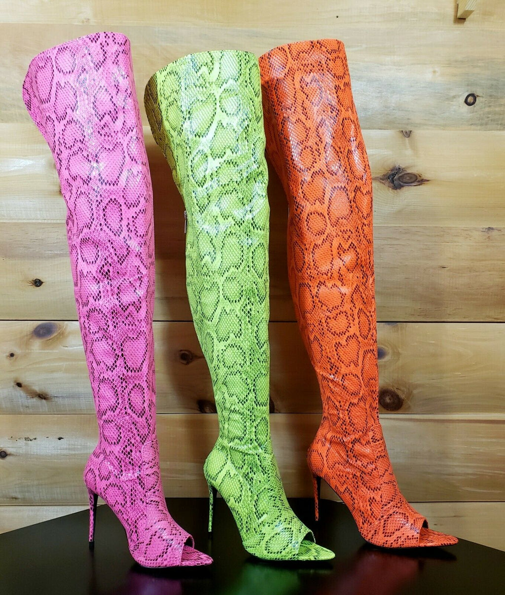 "CR Toxic Hot Pink Open Pointy Toe OTK Wide Top Thigh Boot 4.5"" High Heel 6-11"