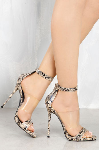 "So Me Victoria Peek A Boo Strap 5""  Stiletto Heel Shoe Beige Snake"