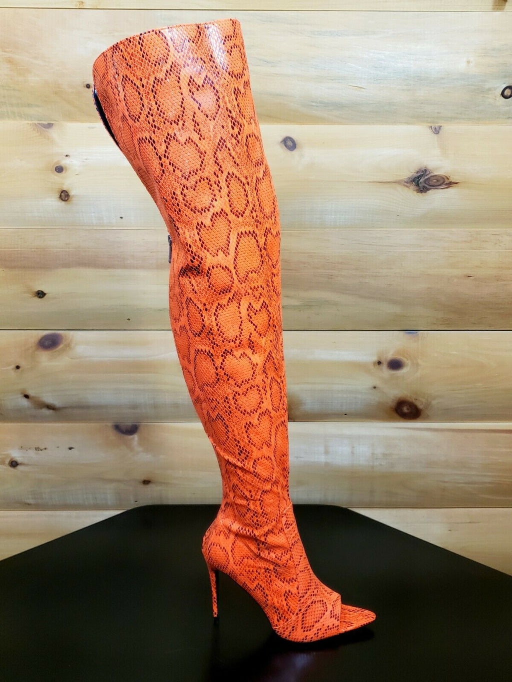 "CR Toxic Bright Orange Open Pointy Toe OTK Wide Top Thigh Boot 4.5"" High Heels"