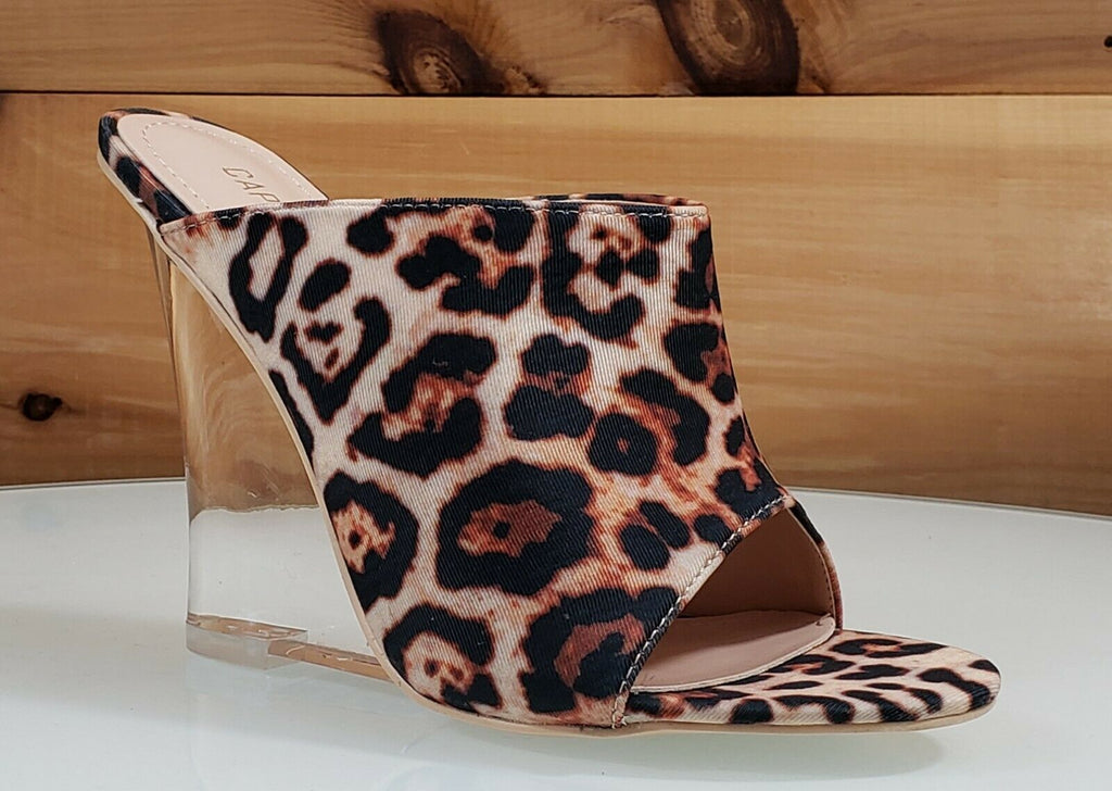 "CR Boa Babe Leopard Slip On Clog 4.5"" High Heel Wedge Shoes 6-11"