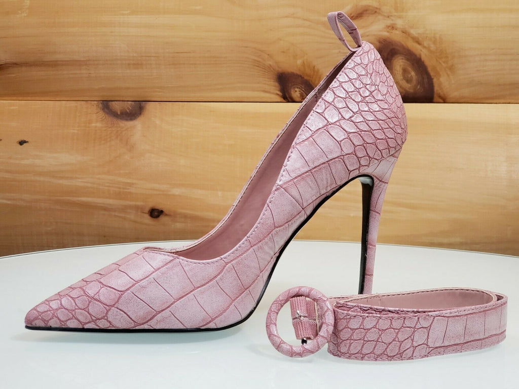 CR Armor Snake Textured Pumps Ankle Strap High Heel Shoes Lilac