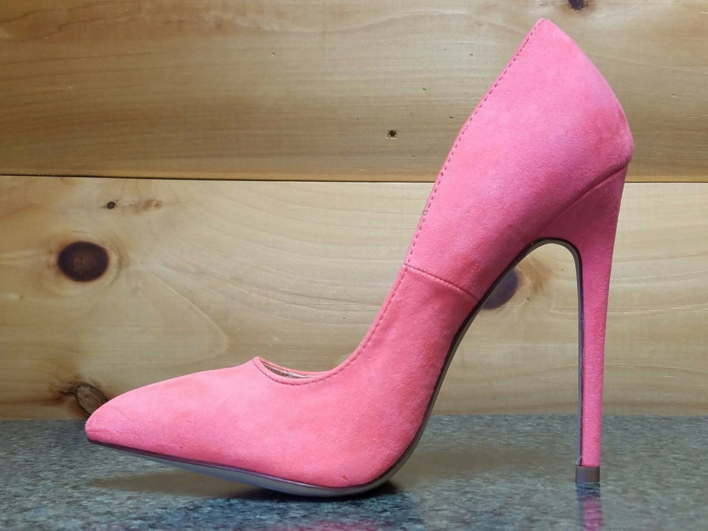 "Liliana Neon Coral FX Suede Single Sole Pointy Toe Pump 5"" Heel Shoe 7-11"