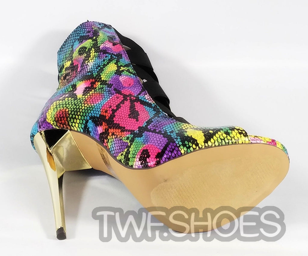 MM Colorful Rainbow Snake Open Elastic Strap Stiletto High Heel Ankle Boots 6-11