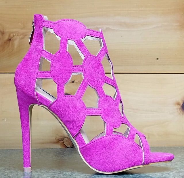 Cape Robbin Lena 8 Fuchsia Pink Cut Out Open Toe Booty Shoe Pump