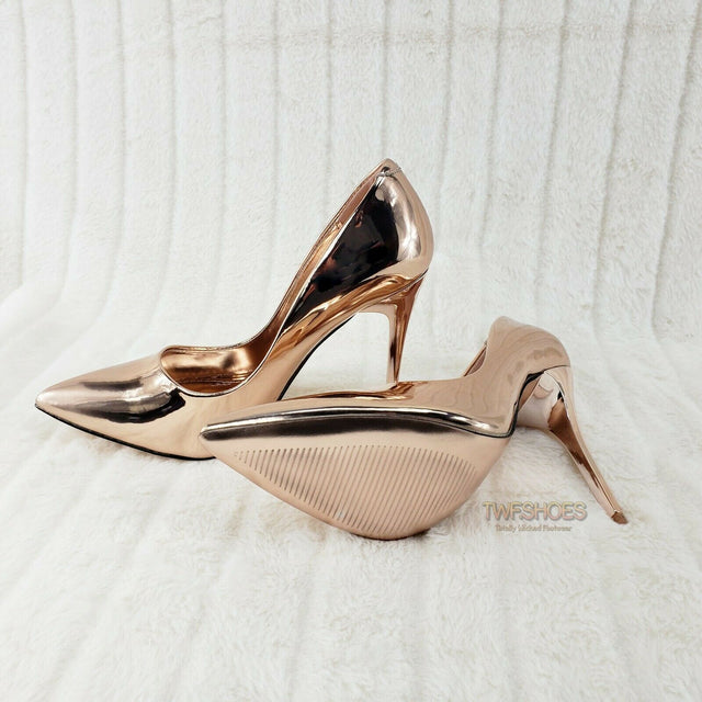 "Fabio Rose Gold 4.5"" High Heel Stiletto Shoes Pointy Toe Pump 5.5-10"
