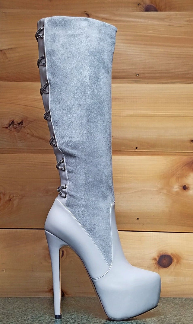 "Luichiny Real Lee Gray Ice Back Decor 6"" High Heel Platform Knee Boot 6- 11"