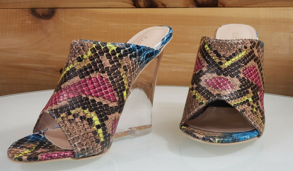 "CR Boa Babe Multi Snake Slip On Clog 4.5"" High Heel Wedge Shoes 6-11"