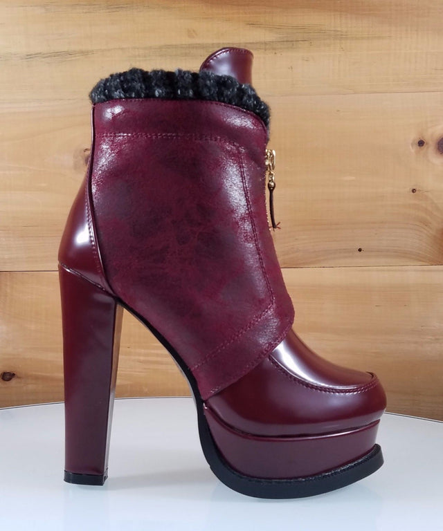 "Luichiny Soul Mate Wine Red 5"" Block High Heel Platform Ankle Boot"