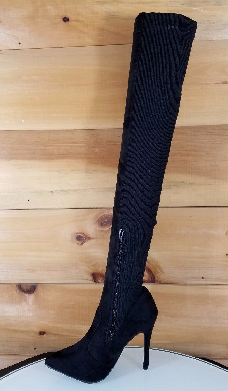 C&C Black Stretch Knit & Vegan Suede Above Knee High Heel Thigh Boot