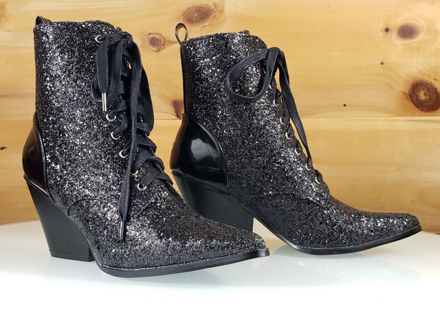Cape Kelsey Black Glitter Lace Up Cowboy Style Pointy Toe Ankle Boot