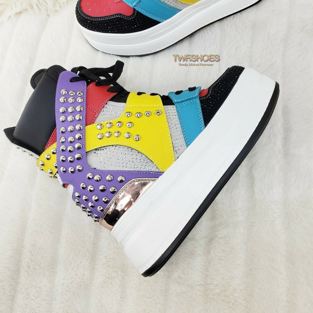 Wang Color Block & Studs Platform Sneaker Hidden Wedge Fashion Street Kicks - Totally Wicked Footwear