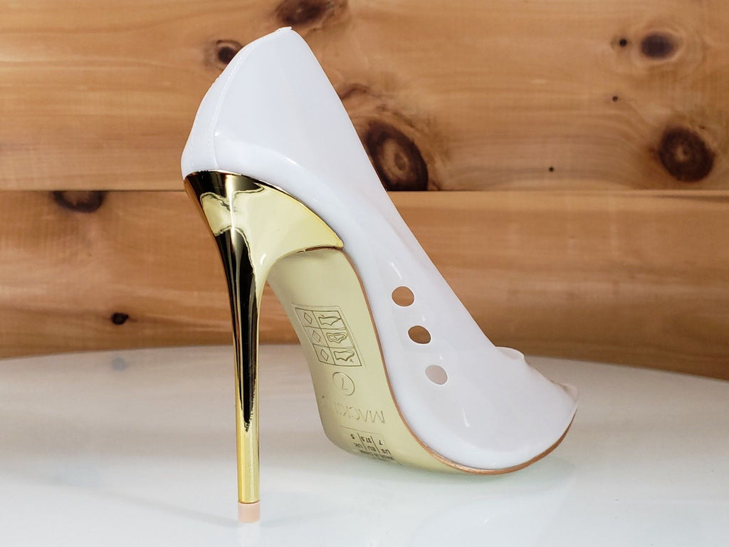 "Mac J Transparent White Pointy Toe Pump Gold 4.5"" High Heel / Sole Shoes 7-11"