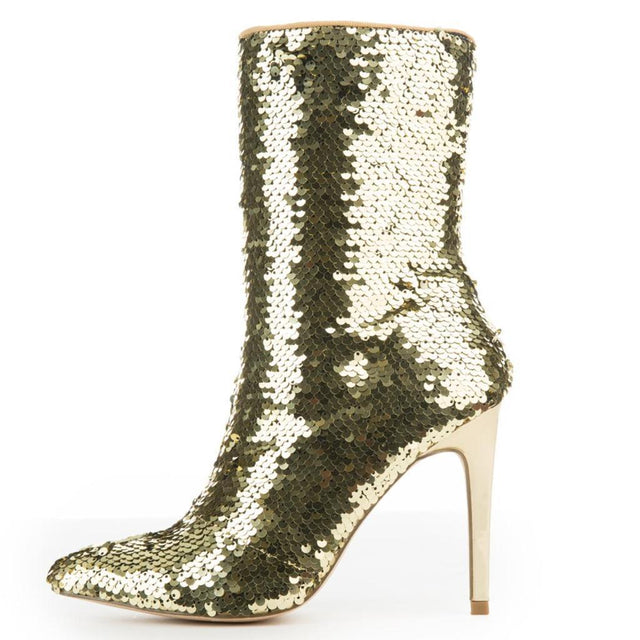 "CR Gold Sequin Pointy Toe Ankle Boot Full Side Zipper 4"" High Heels 6-11"