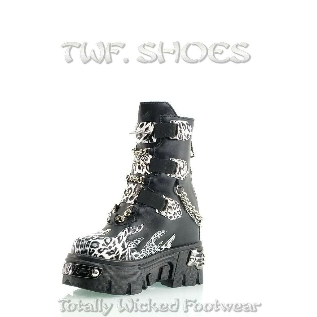 "WTF Dreamz Punk Goth 2.5"" Platform Ankle Boots Flame Patch Chains Studs Leopard Anthony Wang"