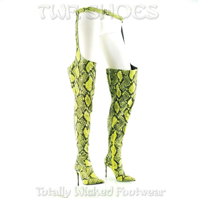 "CR Lime Boa Snake Chaps Belted Thigh Boots Pointy Toe 4"" High Heel 6-11"