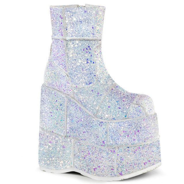 "Stack 201G  White UV Glitter 7"" Stacked Platform Ankle Boot"