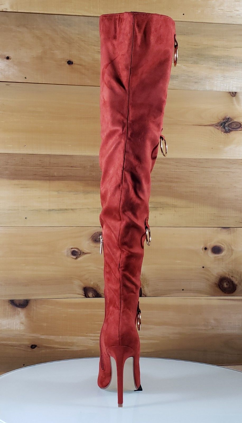 "CR Gigi 68 Rust Red OTK Thigh Boot 4.5"" High Heel Gold Bull Ring Decor 6-11"