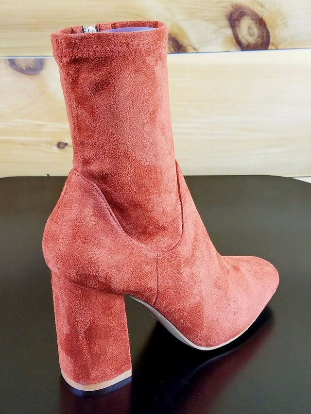 "Cape Robbin Rust Burnt Orange Fabric Ankle Boot 3.5"" Block Heel"
