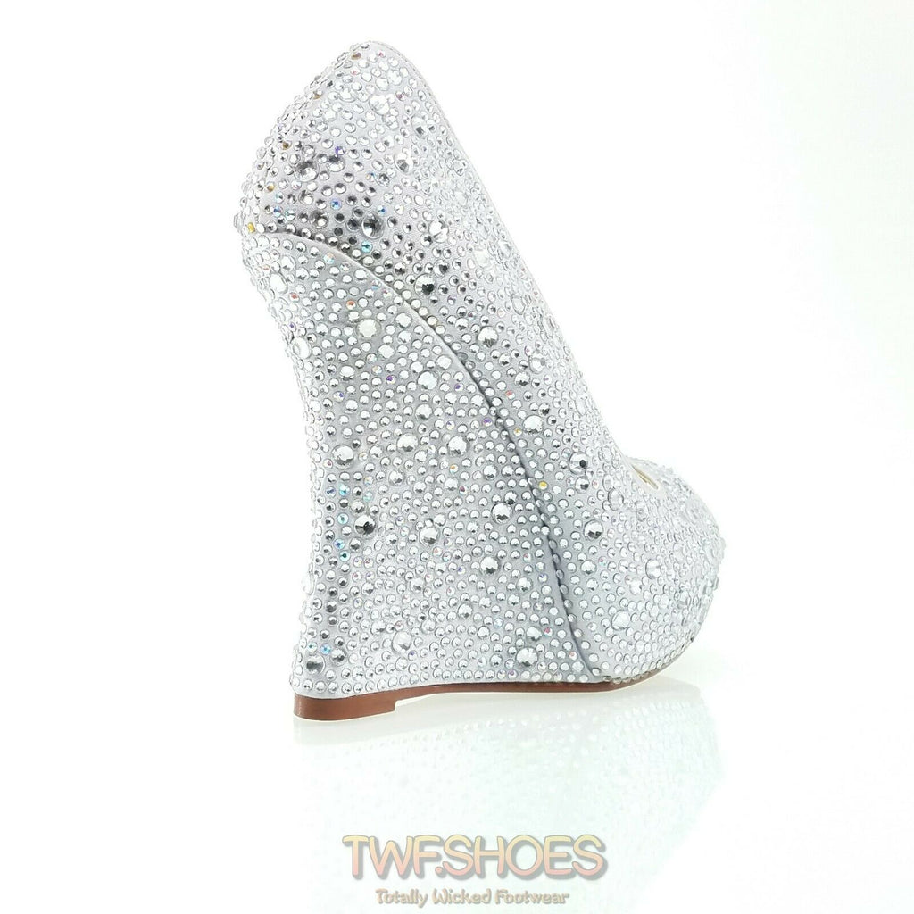 "Izzy 5"" Wedge Heel Silver Satin Rhinestone Embellished Peep Toe Pump Shoes 7-11"
