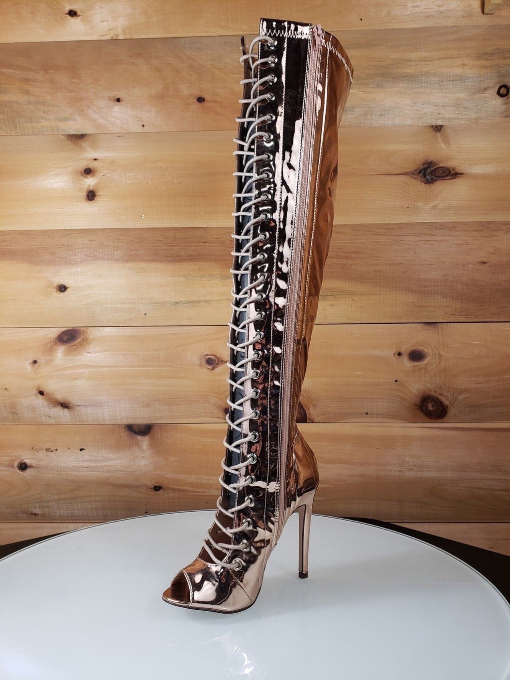 C&C Rose Gold Mirror Open Toe Lace Up Above Knee High Heel Boot