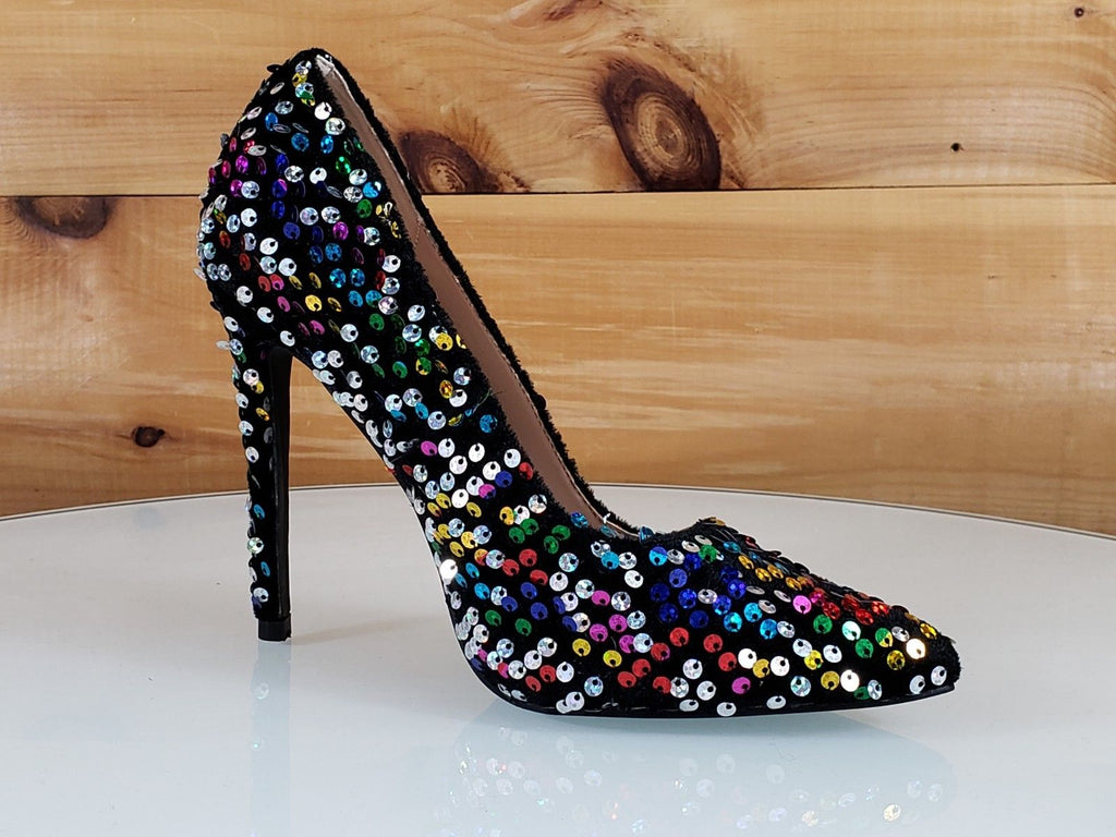 "Ricky 15 Black Multi Color Sequin Pointy Toe Pump Shoe 4.5"" High Heels 6- 11"
